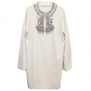 Lanvin Cream Embellished Tunic Dress
