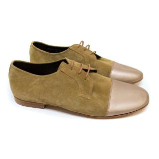 Lanvin Nude Suede Shoes with Metallic Taupe Tips