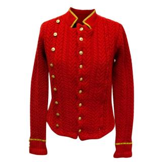Ralph Lauren Red Knitted Cardigan with Collar