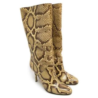 Dolce and Gabbana Beige and Brown Snake Skin Calf Boots