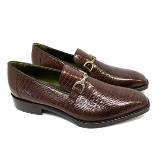 Donald J Pliner Dark Brown Lizard Skin Loafers