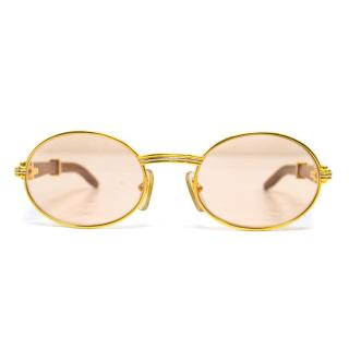 Cartier Gold Round Sunglasses with Wooden Arms