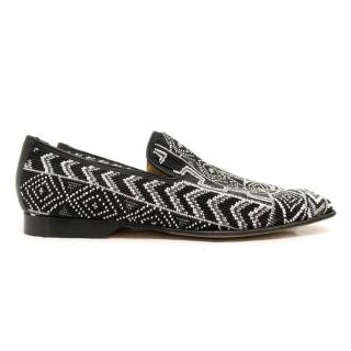 Donald J Pliner Black anf White Aztec Beaded Loafers