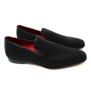 Donald J Pilner Black Beaded Loafers with Patent Back