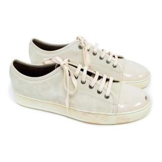 Lanvin Cream Suede Trainers with Patent Leather Tips