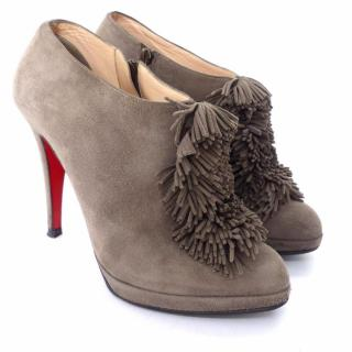 Christian Louboutin Grey Suede Fringed Ankle Boots