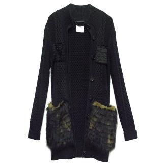 Burberry Black Knitted & Fur Cardigan