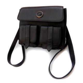 Gianni Versace Vintage Black Leather Backpack.