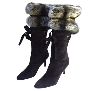 Oscar de la Renta suede and fur trimmed boots