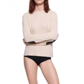 Zadig & Voltaire Delly Patch C Cashmere & Leather Patch Jumper Sweater