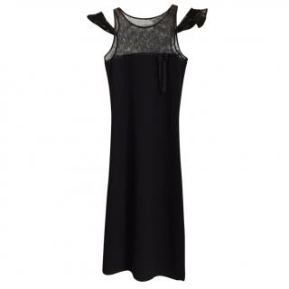 RED VALENTINO Wool & Lace black mid-length dress