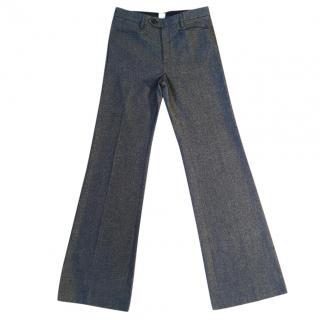 JOSEPH charcoal wool melange stretchy subtle boot cut trouser
