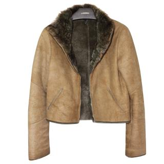 Jil Sander Navy (top line) Shearling/Fur cropped jacket Fr 34
