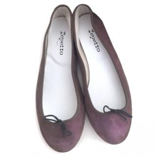 Repetto Metallic Suede Ballet Flats