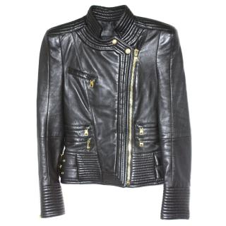 Iconic and sold out Balmain (mainline) Black Leather Biker Jacket Fr 36 Excellent Condition