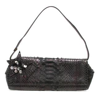Emanuel Ungaro Dark Purple Metallic Snakeskin Bag