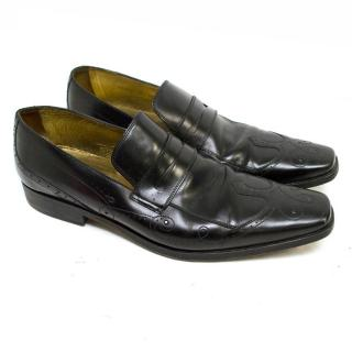 Dolce & Gabbana Black Leather Loafers with Pattern