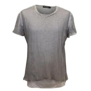 Dolce & Gabbana Grey Netted Mesh T-Shirt