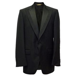 Dolce & Gabbana Black Pinstripe Blazer with Silk Lapel