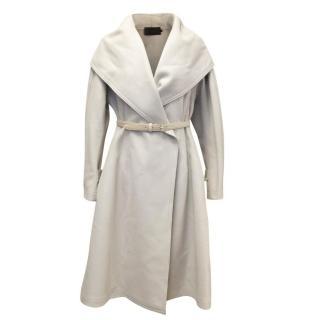 Donna Karan Beige Wool Knee Length Belted Coat