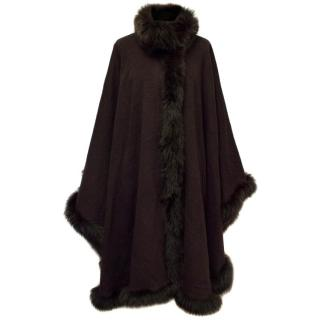 Dark Brown Fox Fur Trim Cape