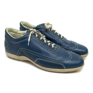 Canali Teal Leather Trainers with Laser Point Design