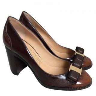 Salvatore Feragammo brown leather heels