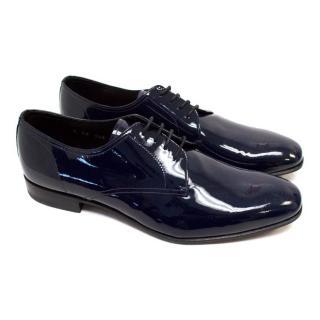 Prada Navy Blue Patent Leather Dress Shoes