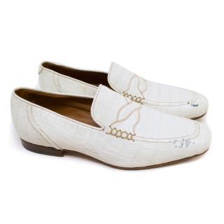 Bottega Veneta White Embossed Crocodile Leather Loafers