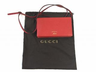 Gucci Red Wallet with Detachable Shoulder Strap