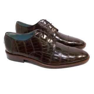 Lambertson Truex Dark Brown Crocodile Dress Shoes
