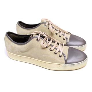Lanvin Cream Suede Low-Top Trainers