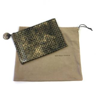 Bottega Veneta Black and Gold Metallic Clutch