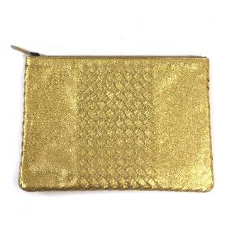 Bottega Veneta Gold Metallic Clutch