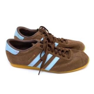 Adidas Rekord Brown Suede Trainers with Light Blue Stripes