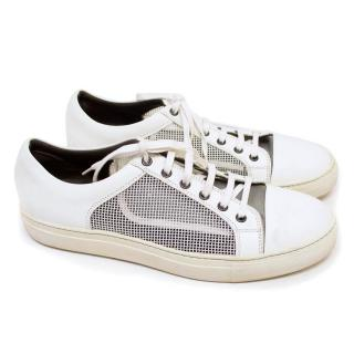 Lanvin White Mesh Low-Top Trainers