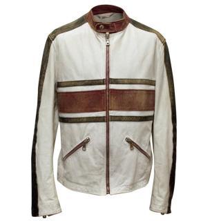 Dolce & Gabbana Men's White Horse Leather Bomber Jacket