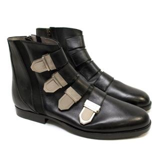 Susan Bennis Warren Edwards Black Buckle Boots