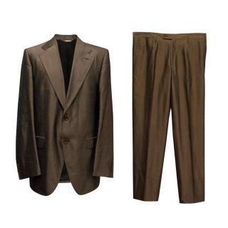 Dolce & Gabbana Brown Shantung Silk Two Piece Suit