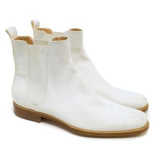 Balenciaga White Denim Chelsea Boots