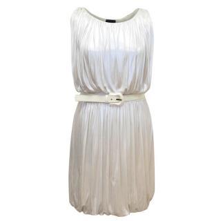 Fendi White Metallic Belted Dress