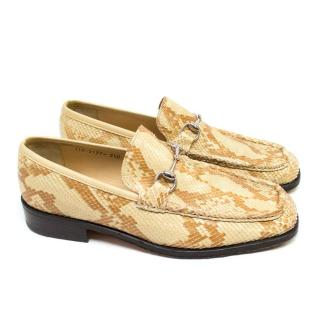 Gucci Beige Snake Skin Loafers