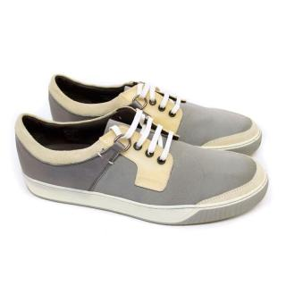 Lanvin Grey Silk and Off White Suede Trainers
