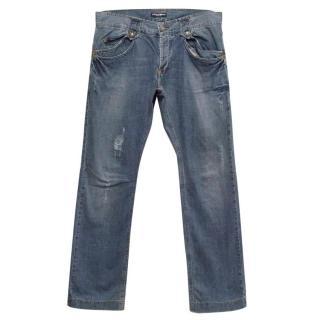 Dolce & Gabbana Blue Denim Straight Fit Jeans