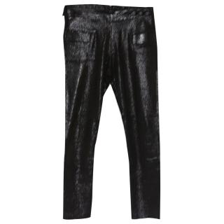 Les Chiffonniers Black Leather Glitter Cropped Leggings