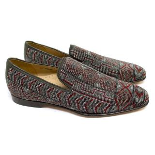 Donald J Pliner Grey and Red Beaded Slippers