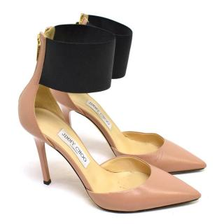 Jimmy Choo Nude Leather Pumps with Black Ankle Straps