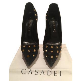 Casadei Black Suede heels size 39