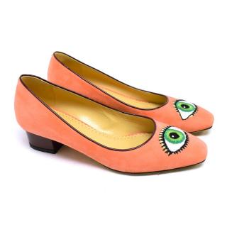 Charlotte Olympia Pink Suede Pumps with Eye Print