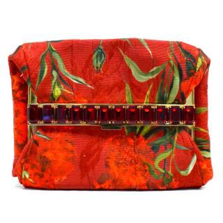 Dolce & Gabbana Red Emerald-Cut Jewel-Embellished Clutch